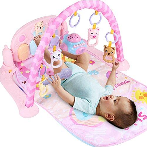 ZZM Baby Fitnessstand mit Musik Babyspielzeug 82*66*42cm für 0-8 Monate (Rosa)