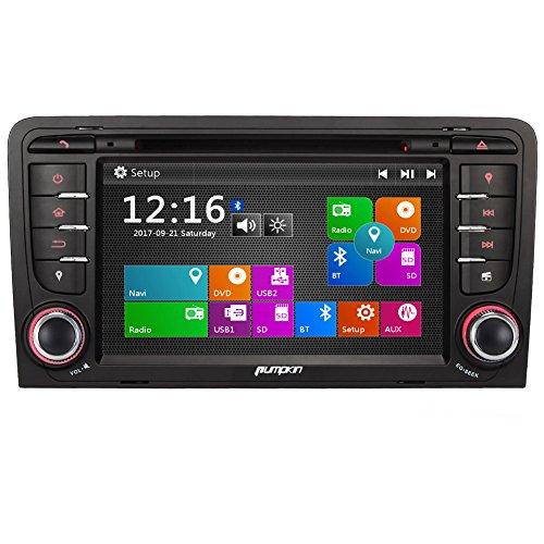 PUMPKIN 7 Zoll 2 Din Autoradio DVD Player Moniceiver mit GPS Navigation für Audi A3 2003 - 2011 unterstützt Bluetooth Lenkradfernbedienung Radioempfang USB MicroSD (Autoradio mit neuem Aussehen)