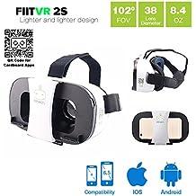 VR-PRIMUS FIIT VR 2s - Gafas de realidad virtual - Para smartphones Android e iOS como iPhone, Samsung Galaxy, HTC, Sony, LG, Huawei, Motorola, ZTE, Pixel y más - Compatible con Google Cardboard Apps - 3D Auriculares de realidad virtual para móviles - Gafas VR / RV para smartphone Fit vr - ( blanco )