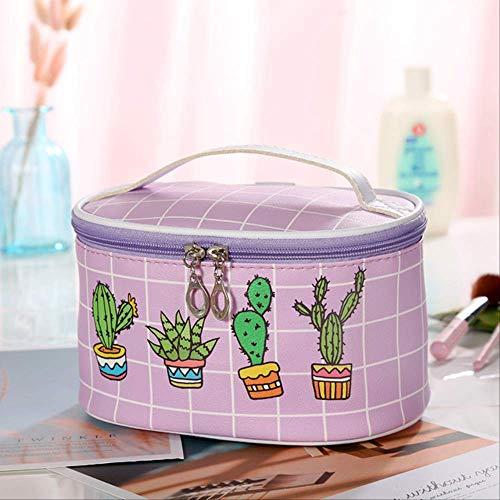 Paket Wbdd Cartoon Kaktus Print Pu Kosmetik Tasche Mode Einfache Damen Aufbewahrungstasche purpurn -