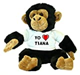 Chimpancé de peluche (juguete) con Amo Tiana en la camiseta (ciudad / asentamiento)