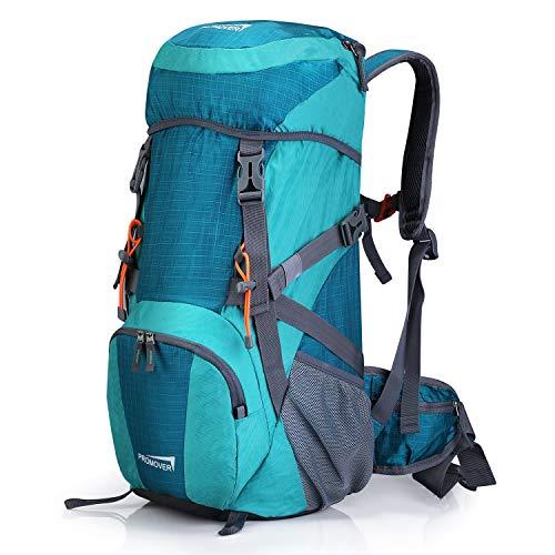 Promover Großer 35 l Reiserucksack Wanderrucksack Tagesrucksack Wasserdicht Camping Rucksack mit Regenschutz für Camping Erwachsene, Hellblau/Dunkelblau