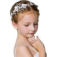 IYOU Fascia per capelli da comunione con fiore bianco Coroncina da principessa in cristallo Accessori per capelli con…