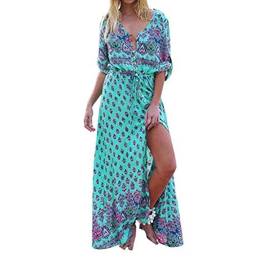 LMMVP Maxi-Kleid für Damen, Vintage-/Boho-Stil, mit Blumenmuster, lang, V-Ausschnitt XXXL grün