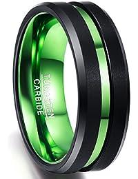 Nuncad Bague Hommes/Femmes noir-vert 8mm, Bague carbure de tungstène avec rainure verte, Comfort-Fit, idéale pour fête, mariage, fiançailles et passe-temps, pointure 54 à 77