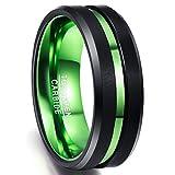 Ring Hochzeit Herren 8mm breit, Nuncad Ring aus Wolfram mit grünem Groove, Comfort-Fit Design, Ring für Hochzeit, Verlobung, Fasching, Größe 67 (27)