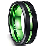 Nuncad Anillo Negro + Verde para Hombre/Mujer de tungsteno, 8 mm de Ancho Anillo Unisex con diseño Comfort-Fit, Superficie Pulida con Ranura Verde, Talla 32 (CH: ≈ 32,5)