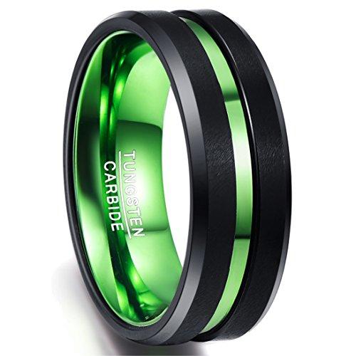 Ring Damen Wolfram 8mm, schwarz-grün, mit grünem Groove, Comfort-Fit, Ring Hochzeit Unisex, Verlobung, Ehering für Liebe, Partnerschaft, Größe 54 (14)