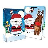 "Set Of 2 Jumbo Portrait Christmas Gift Bags Santa Sacks 22"" x 16"" - Cute Santa & Rudolph"