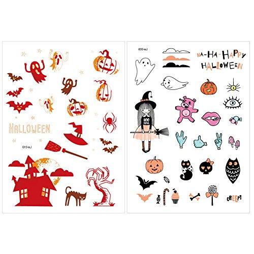 SpringPear 2X Temporär Horror Tattoo Leuchtende Aufkleber für Halloween Party Wasserfeste Tätowierung mit Kürbis Geist Skelett Set Leuchtet im Dunkel (2 Pcs Le-009 Le-010)