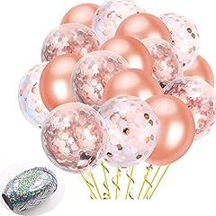 Idea Regalo - Set di palloncini in oro rosa + nastro e pompa | Coriandoli in oro rosa, bianco, rosa | Matrimonio, fidanzamento, addio al nubilato, decorazioni per addio al nubilato di compleanno e baby shower