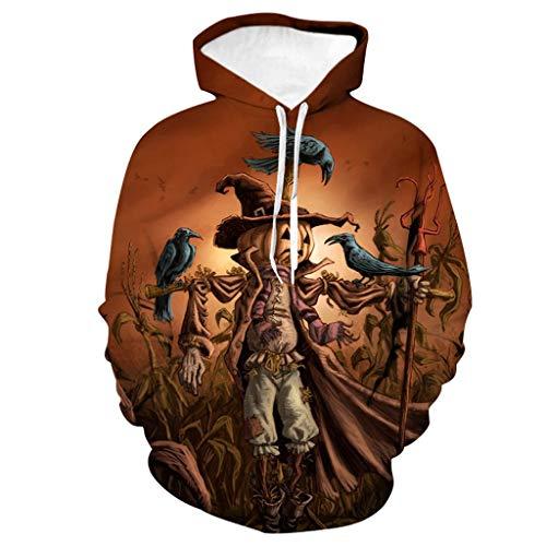 xue binghualoll Mens Casual Scary Halloween Kürbis 3D Print Party Langarm Hoodie Mantel Oberbekleidung Mantel Jacken Mantel Top Bluse - Kapuzen-elasthan Vertuschen