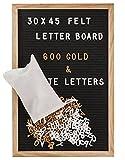 Gadgy ® Letter Board Holz und Filz 30x45 cm | Buchstaben Tafel Buchstabenbrett Rillentafel | Mit 600 Weiße und Goldfarbige Buchstaben & Zahlen und Beutel | Retro Felt