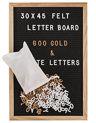 Gadgy ® Letter Board Holz und Filz 30x45 cm   Buchstaben Tafel Buchstabenbrett Rillentafel   Mit 600 Weiße und Goldfarbige Buchstaben & Zahlen und Beutel   Retro Felt