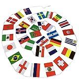 Fahnenkette/Wimpelkette/Girlande WM2018 Russland mit 32 Flaggen/Fahnen aller Fußball Teilnehmer der Weltmeisterschaft WM 2018, zirka 12,5m lang ist Flaggenkette …