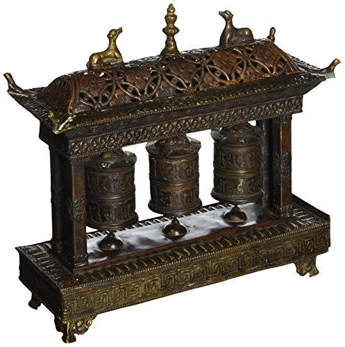 Exotic india zal04 Tibetan Buddhist Triple Prayer Wheels With Incense