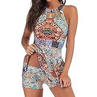Women Plus Size Two Piece Swimwear ❀ Ladies Floral Tankini Swimjupmsuit Swimsuit Beachwear Padded Swimdress