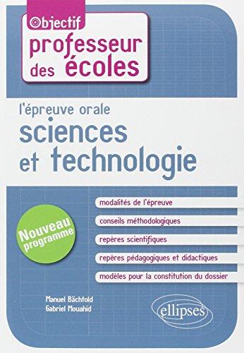 L'Épreuve Orale Sciences et Technologie CRPE Nouveau Programme