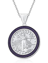 "Silvernshine 1.35 Ct Round Amethyst Liberty Coin Pendant 18"" Chain In 14K White Gold Fn"