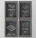 Gaming Patent Poster - Set Of 4 - Gamer Poster Gift Vintage Blueprint Retro Girls Boys Video Games Room Wall Art Bedroom Original Decor Merchandise Classic Old Antique - Frame Not Included