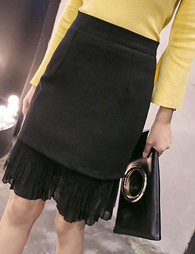 DESY Damen Lässig/Alltäglich Knielänge Röcke Bodycon,Reine Farbe einfarbig Sommer gray