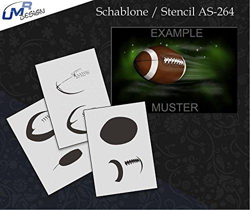 UMR-Design AS-264 Football Airbrushschablone Step by Step Grösse XL
