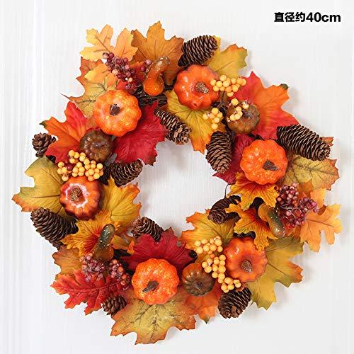 jhsajddaa Halloween-Stützen Maple Kranz Tür Peddigrohr Beeren Halloween-Kürbis Leuchtet Bardekorationen Hängen 40Cm Beere Kranz Maple Leaf -