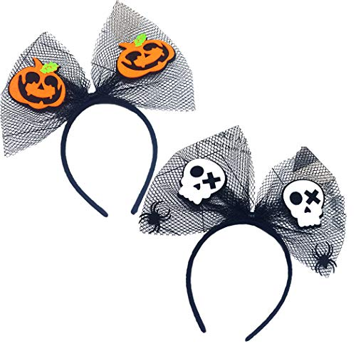 ZOYLINK 2 StÜcke Halloween Stirnband Dekorative Nette Mesh Bowknot Party Stirnband Haarband
