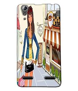 Fuson Shopping Girl Back Case Cover for LENOVO A6000 - D4046