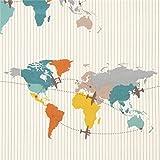 Cremefarbener Bio-Popeline mit Landkarte von birch