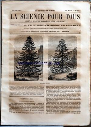 SCIENCE POUR TOUS (LA) [No 37] du 10/08/1865 - COMPTEUR A EAU, SYSTEME ROBERTON-BRISSON PAR G. JOUANNE LECONS DE CHIMIE APPLIQUEE AUX ARTS - DE LA PEAU ET DU TANNAGE PAR J. GINESTOU LE NOUVEAU JARDINIER ILLUSTRE PAR A. DUPUIS ACADEMIE DES SCIENCES - ORGANISATION DE QUELQUES ENTREPRISES METEOROLOGIQUES - LES BUVEURS D'ABSINTHE FAITS SCIENTIFIQUES ET INDUSTRIELS - CHUTE DE GRELE - LES PRAIRIES DES MONTAGNES - COULEUR D'ANILINE - LA PECHE MIRACULEUSE - LES LACS BLEUS EN AMERIQU