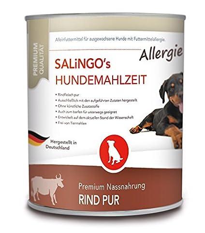SALiNGO Allergie Hundefutter nass, Rind PUR, getreidefrei (6x800g)