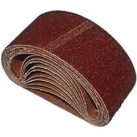 Bandas de lija (10unidades, 75x 457mm grano de 2x 40/60/80/120/180para lijadora de banda