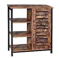 VASAGLE Floor Standing Cabinet, Industrial Storage Cabinet, Sideboard With 3 Shelves and Cupboard, Living Room, Hallway, Kitchen, Bedroom, 70 x 30 x 81 cm, Rustic Brown LSC74BX