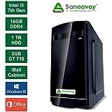 Sanaavay PC- Intel Core I5 7400 7th Generation Processor / 16GB DDR4 Ram / 2GB GT710 Graphics / Windows 10 Pro / MS Office / 1TB Hard Disk / DVD / WiFi / IBall Cabinet