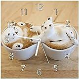 Wallario Glas-Uhr Echtglas Wanduhr Motivuhr • in Premium-Qualität • Größe: 30x30cm • Motiv: Süße Milchschaum Katzen auf Kaffee