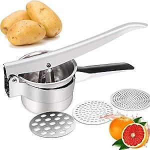 JmeGe Kartoffelpresse Obst- und Gemüsemischmaschine Lebensmittelpresse Großraum 420ml-100% Edelstahl