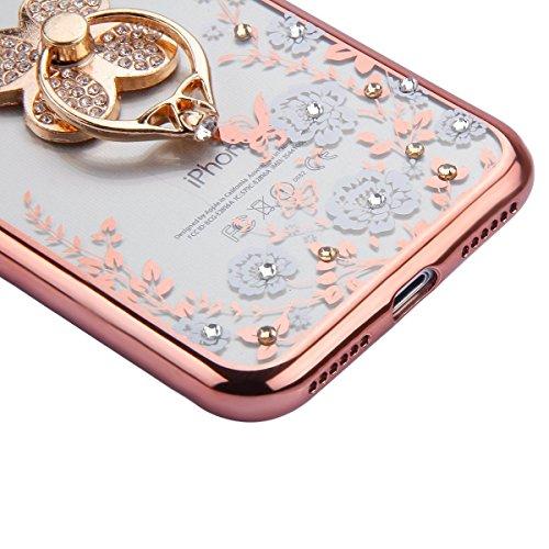 iPhone 7 Case Transparen Slim Silicone,iPhone 7 Coque Transparente Bling Silicone,iPhone 7 Coque Bumper,Coque Housse Etui pour iPhone 7 4.7 Pouce,EMAXELERS iPhone 7 Coque Cristall Silicone TPU Case Sl Bling Flower 3
