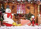 LYWYGG 7x5FT Muñeco de Nieve Fotografía Telón de Fondo Telón de Fondo de Navidad Casa de Vacaciones Árbol de Navidad Regalos Fondo para la decoración de la Fiesta de Navidad CP-98