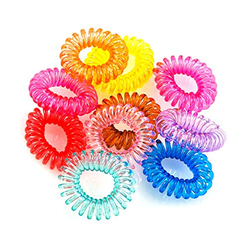 Pajoma mituso Haargummi (Kunststoff-Spirale),Telefonkabel, elastisch, Haarschmuck im 10er Set Mehrfarbig - Elastischen Kunststoff