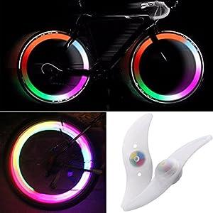 51DY4J5X3VL. SS300 TRIXES Paia di Fanalini LED Che Cambiano Colore da Applicare ai Raggi della Bicicletta - Luce del Raggio della Bici con 3 Modelli Infiammanti - Accessori Bici