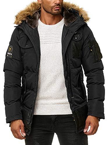 Blackrock Herren Winter-Jacke - Gefütterte warme Herrenjacke - Slim-Fit - mit Kapuze und abnehmbarem Kunstfell - Schwarz - XL