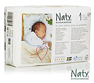 Naty by Nature Babycare Newborn ECO Nappies - Size 1, 4 x Packs of 26 (104 Nappies)
