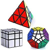 Vdealen Cubo Mágico Puzzle Pack - Pyraminx,Megaminx,Silver Mirror 3x3x3 - Peluches y Puzzles precios baratos