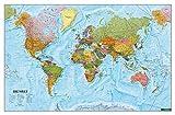 Wandkarte: Die Welt, Poster 1:35.000.000, Metallbestäbt in Rolle (freytag & berndt Poster + Markiertafeln)