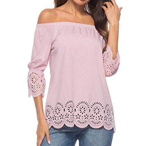 Venmo Frauen Reizvolle Stripe Shirt aus Langarm Schulterfrei Bluse Fliege Tops Loose Langarm Pullover Casual Bluse Shirt Frauen Neigung Schulter Stripes Herbst T-Shirt (Pink, S) - Pink Stripe Dress Shirt