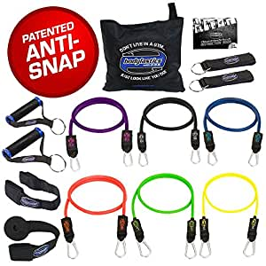 "Bodylastics 14 pcs Anti-Snap Resistance Exercise Bands Set with 6 Stackable ""Snap Guard"" exercise tubes, Heavy Duty components, carrying case and printed instructions for the top muscle building exercises"
