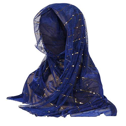 QIMANZI Damen Indien-Hut Muslim Rüsche Krebs Chemo Mütze Turban Wickeln Deckel Schal Shaw(Dunkelblau,175X50cm/68.9X19.7) -