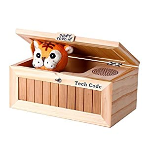 Dulcii Cartoon Creative Don't Touch Tiger Useless Box Unique Musical Wooden Box Jokes Funny toys for friends and kids, wooden children toy 8