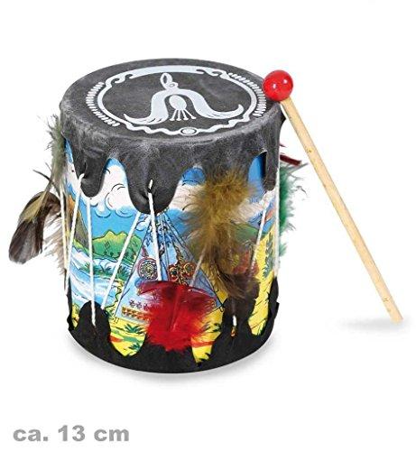 Gras Mardi Indianer Kostüme (Indianer Trommel mit Schlegel Musikinstrument Kindertrommel Musik Spielzeug Mottoparty Rollenspiele Accessoire Wilder)